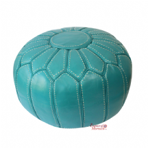 Moroccan Pouffe Pouf Ottoman Footstool STUFFED Genuine Turquoise Leather Hand-stitched
